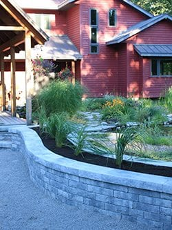 Retaining wall garden backyard