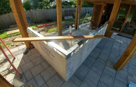 Outdoor kitchen and BBQ patio under construction