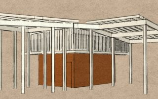 Concept model for a custom double pergola and shed