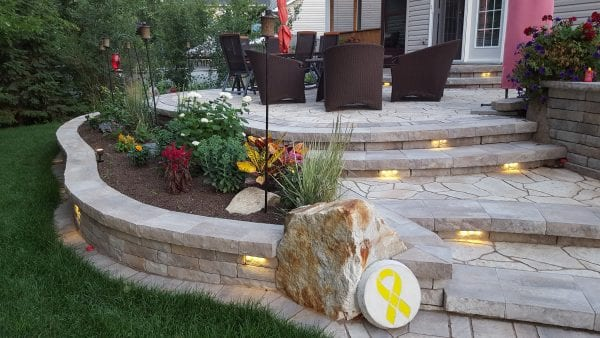 Hardscape BBQ multi-level patio with integrated lighting