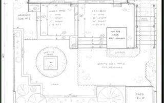 Concept design for a backyard garden entertainment space with a multi-level interlock patio and walkway