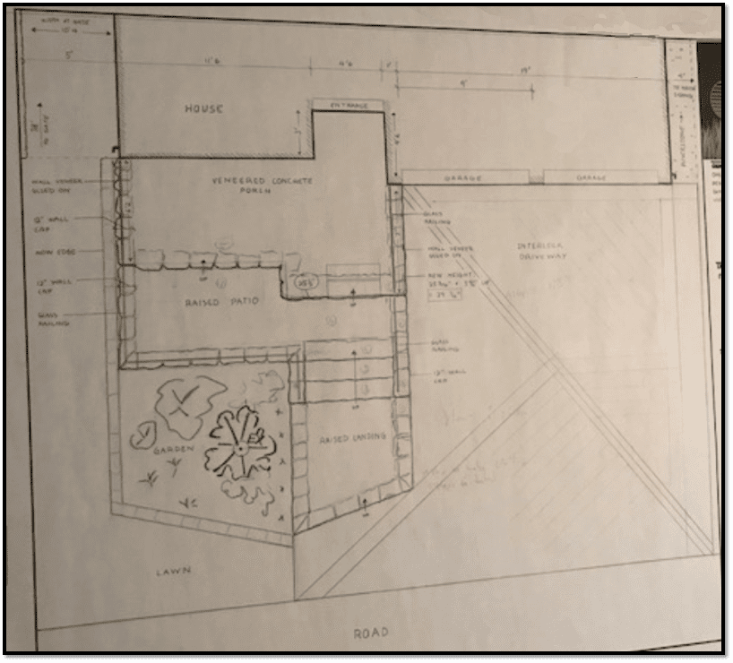 Concept designs for a front yard grand entry way, stairs, landing, and interlock driveway