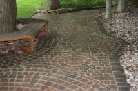 Interlock walkway and patio with circular patterns
