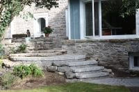 Natural stone steps and retaining walls