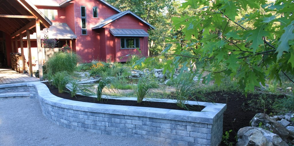 Retaining wall and pond