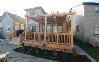 Cedar deck and pergola with louvers