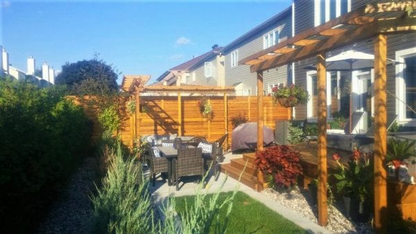 Backyard garden with pergola, patio, hot tub area and fence